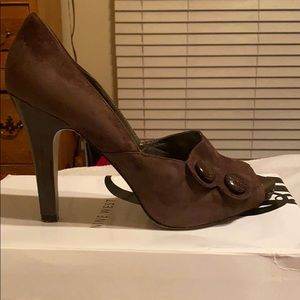 Dark brown suede peep toe pump